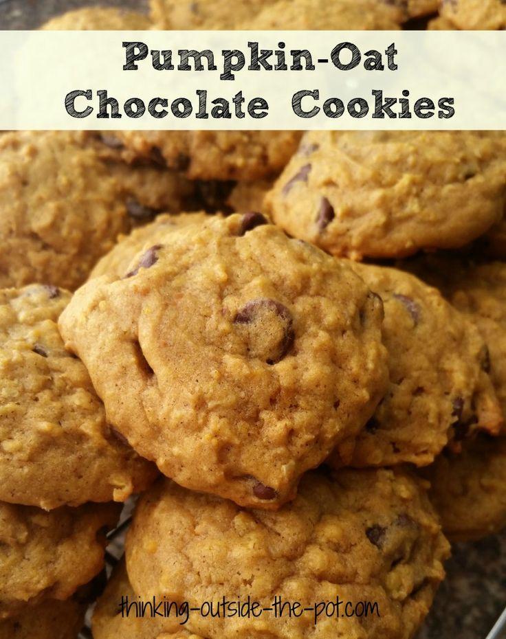 pumpkin oat chocolate cookies
