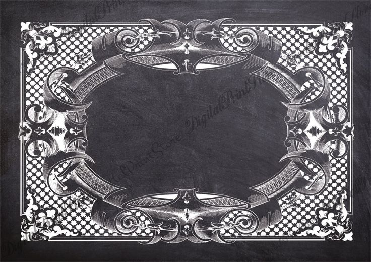 Old Chalkboard Frame Victorian Border 006 Clip Art Ornate Chalkboard Commercial Use by DigitalPrintStore on Etsy