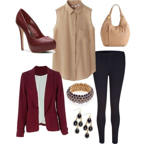 Here we go to pull you out of the land of neutral. This wine color blazer would be just the thing for you. It could be worn with navy, gray, charcoal (stay away from black) and as you can see from the shirt...TAN!!!!