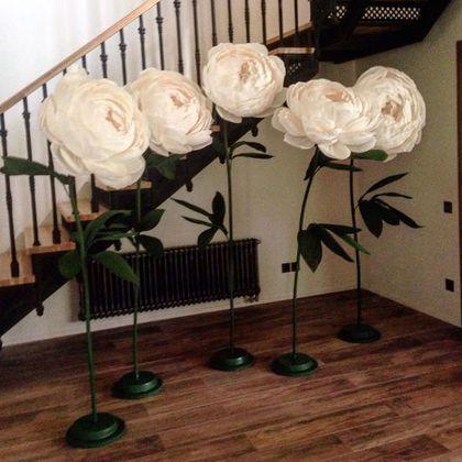 Цветы ручной работы. Ярмарка Мастеров - ручная работа. Купить Бумажные цветы на подставках. Handmade. Большие цветы, свадьба