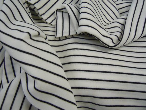 vintage black u0026 white striped double knit fabric black pin stripe sewing and crafting material