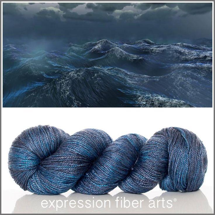 Expression Fiber Arts, Inc. - TRITON 'LUSTER' SUPERWASH MERINO TENCEL SPORT yarn - the messenger of the sea; a mythological Greek god (son of Poseidon and Amphitrite) - a rich, gorgeous sea blue with overlays of purple/plum
