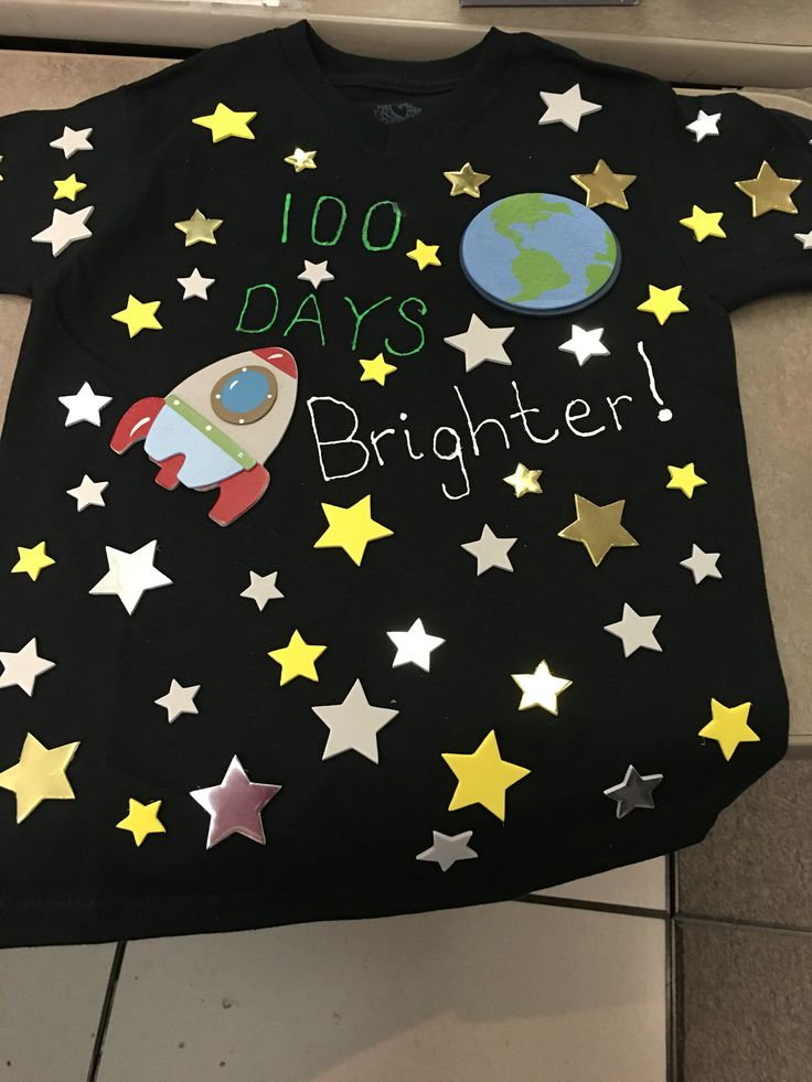100 days of school shirt, stars on front and back