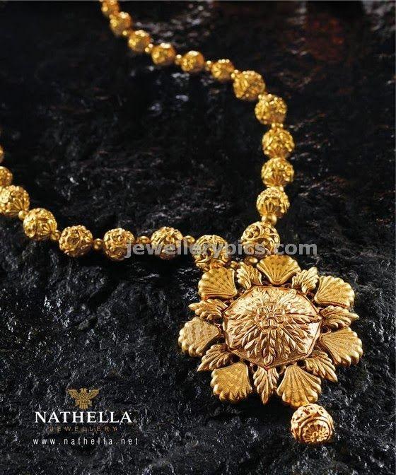 Gold flower design nakshi ball necklace - Latest Jewellery Designs