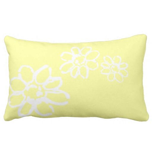 Flower prints on yellow lumbar pillow | Zazzle
