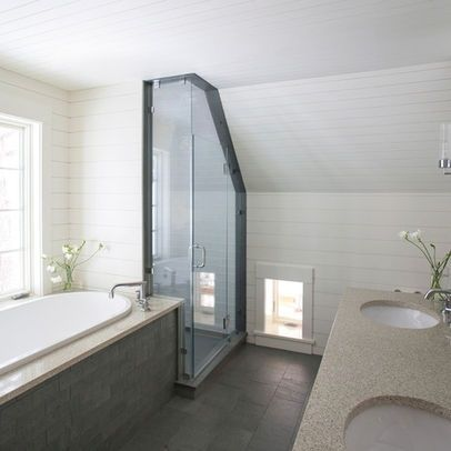 10 best images about bathroom ideas on pinterest for Small bathroom with sloped ceiling
