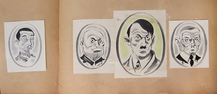 "Cahén's cartoons depict Japan's Emperor Hirohito, Italian Prime Minister Benito Mussolini, German Chancellor Adolph Hitler, and SS leader Heinrich Himmler. ""Untitled,"" c. 1943, The Cahén Archives."