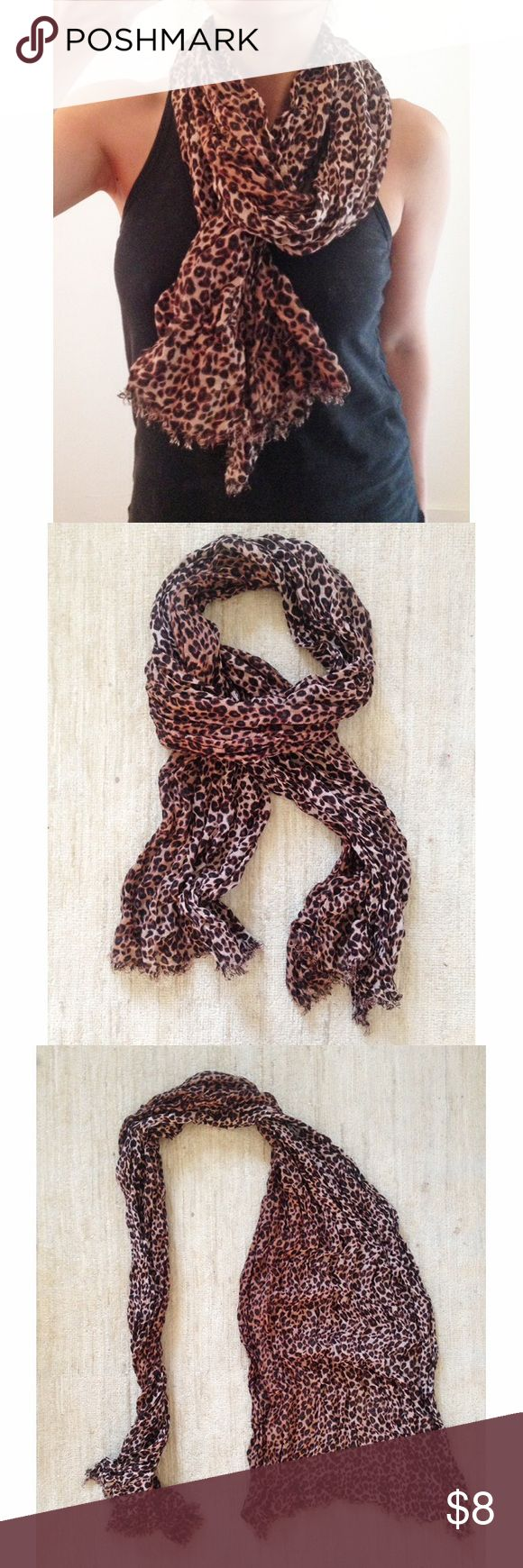 "Leopard print scarf Frayed edge large leopard print scarf. Width approx. 23"" Pet free, smoke free home. H&M Accessories Scarves & Wraps"