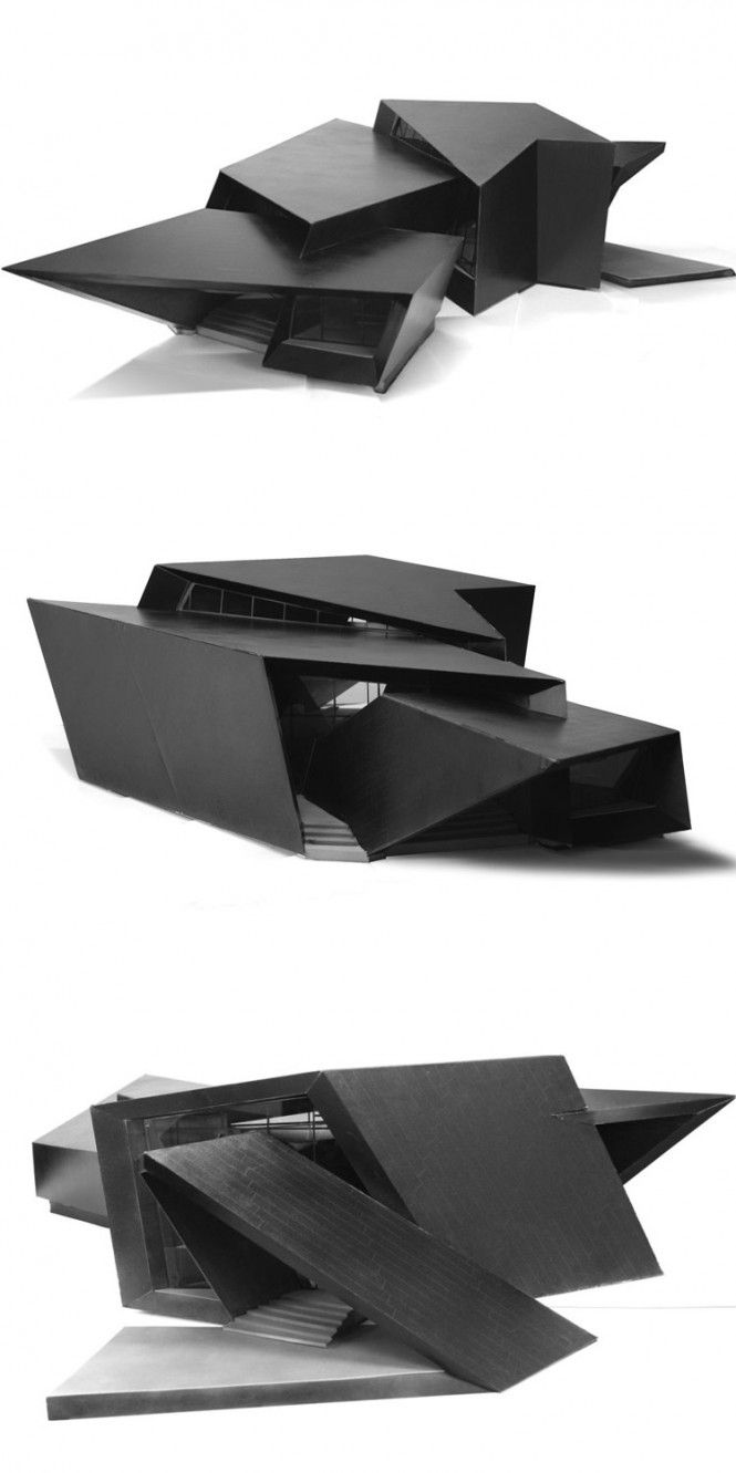 House - Daniel Libeskind. Looks like its made from folding paper, the sense of looping might be good for a temple scenario..