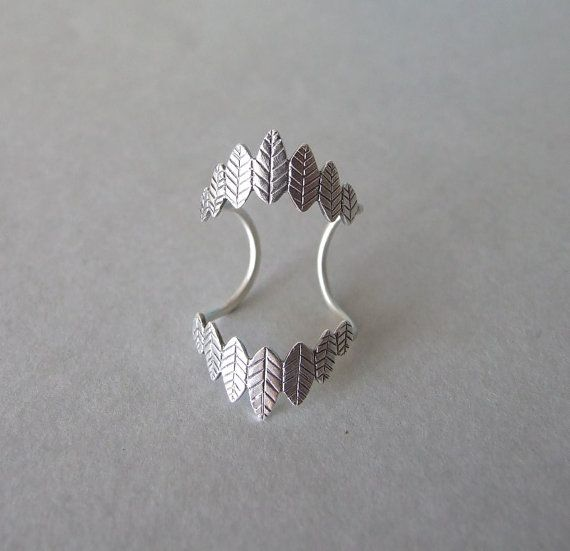 Silver Leaves Double Knuckle Ring  leaves by shirliclassicjewelry