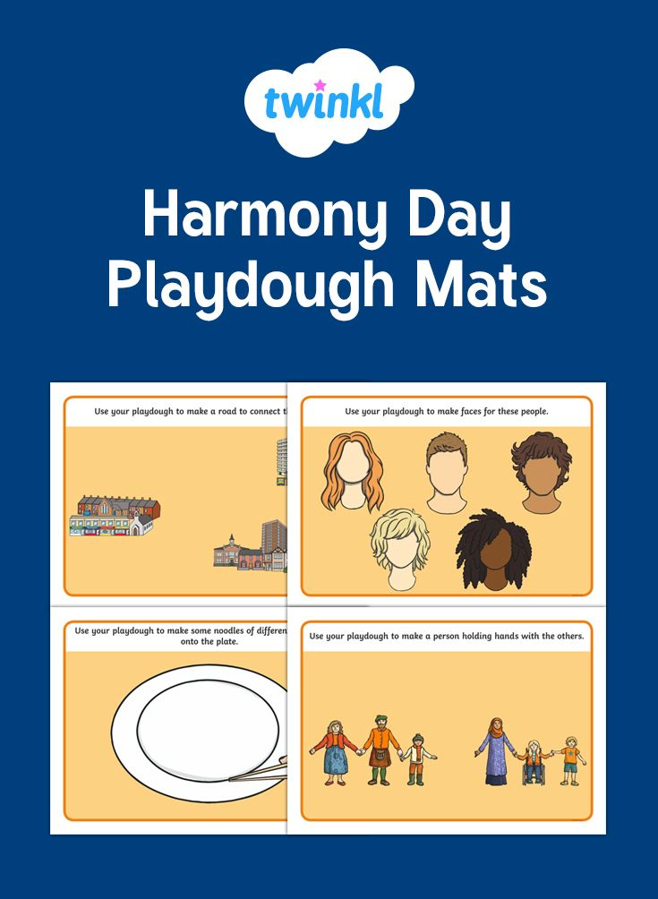 Laminate these playdough mats for a fun and creative cross-curricular activity. Each mat features a different topic related to Harmony Day, use playdough to follow the instructions and complete the images.