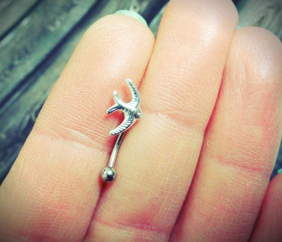 Sparrow Bird Eyebrow Ring Rook Ear Piercing or by MidnightsMojo, $8.00