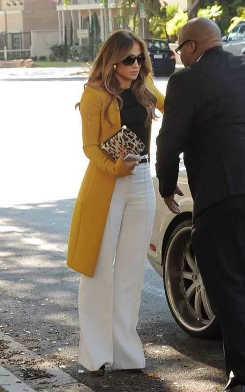 Jennifer Lopez was spotted in an eye-catching look in Pasadena, California rocking a $1890 The Row Hamilton Wool Crepe Coat and $875 Charlotte Olympia Doll