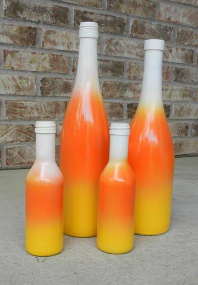 Candy Corn Wine Bottle Craft