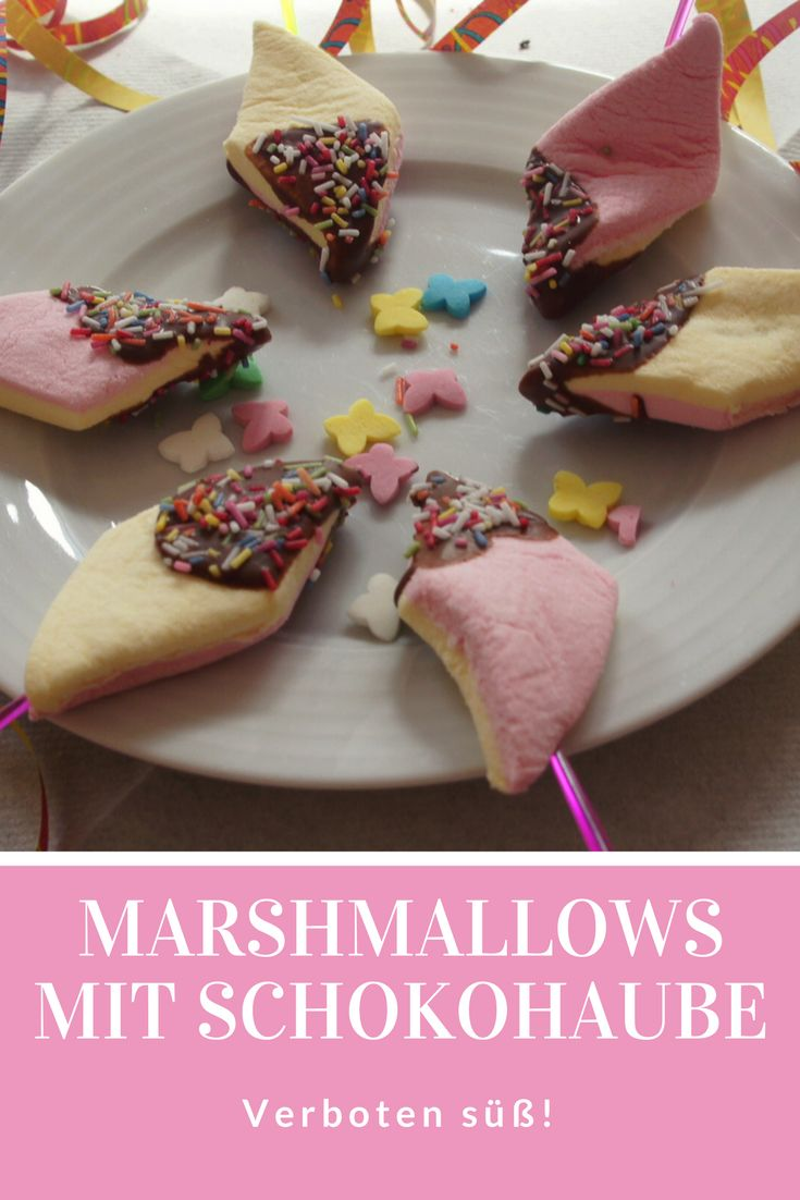 Marshmallows mit Schokohaube und Streuseln: Das ist der Hit auf dem Kindergeburtstag oder beim Fasching. Supersüß! Schnell gemachtes Rezept mit einem kleinen Trick,schmeckt Kindern!
