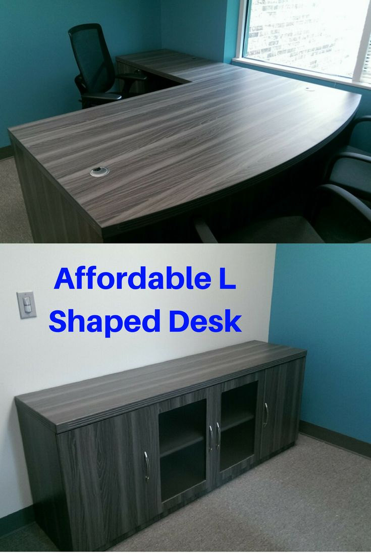Affordable L Shaped Office Desks |  This cheap L shaped desk is an import laminate desk.  Discount Office Furniture is popular due to the price point & usually in-stock.  Multiple configurations are also available with matching pieces such as a hutch, bookcase, U shaped desk, credenza, etc.  Depending on the set-up, the price point is typically between $500 - $1,000.  Ships nationwide from Kansas City.