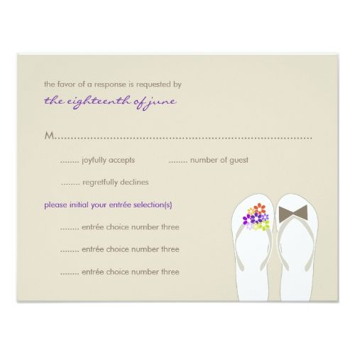 Mr & Mrs Purple Flip Flops Beach Wedding RSVP Card