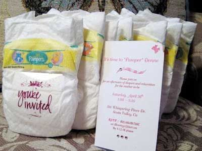 Pamper Mommy what a great idea for invitations