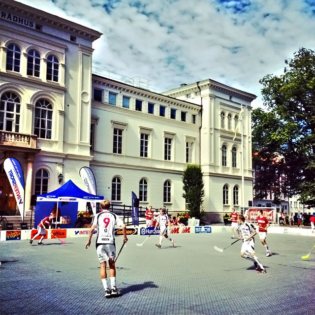 Outside floorball in Jönköping.