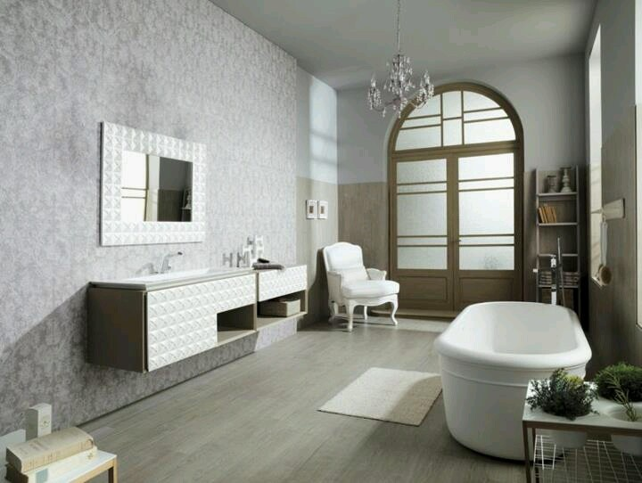 Gorgeous Bathroom With Porcelanosau0027s Beautiful Ceramic Tiles / Floor Tiles:  PAR KER Canadá White Wash, Wall Tiles: PAR KER Canadá White Wash, ...