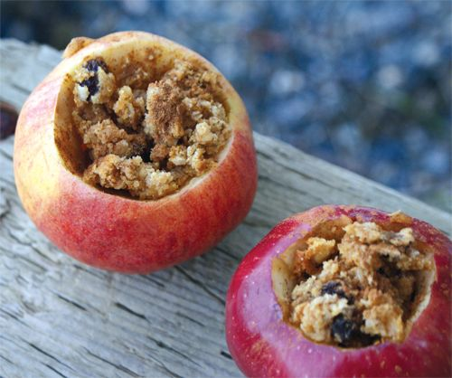 Baked Apples on the Campfire. Fill apples with granola or crumbled oatmeal cookies for a warm campfire dessert. Yum!