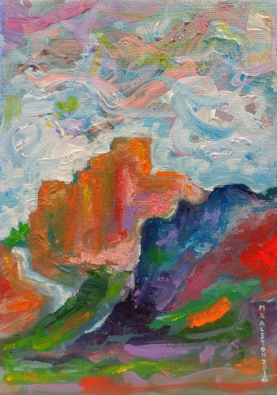 Canyon 5x7 Colorful Abstract Landscape Painting Canadian Painting Original Acrylic Painting On Stretched Canvas Painting Abstract Landscape Painting Landscape Paintings