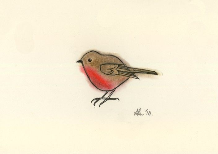 Little Robin Red Breast - Original drawing charcoal and pastel. $15,00, via Etsy.