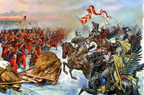 Polish Hussars attack Danish infantry