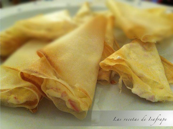 Las recetas de Isafrape: Conos crujientes rellenos de jamón y queso