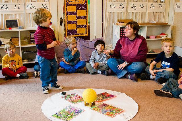 Circle time in a Montessori preschool program.
