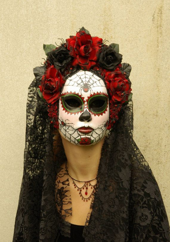 Viuda Negra Mask for Day of the Dead/Dia de los by effigymasks