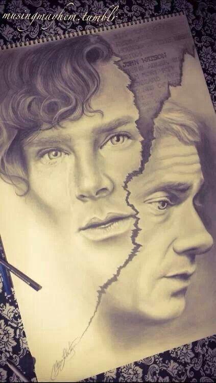 Beautiful Sherlock and John artwork.