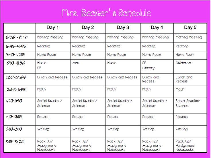 4th grade class schedule