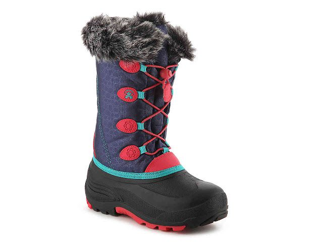 The Kamik Girls Snowgypsy is a very stylish snow boot for toddlers and you from Kamik.  The fun fur collar and color combinations make these winter boots the perfect pick for keeping her feet warm and protected in the cold weather!