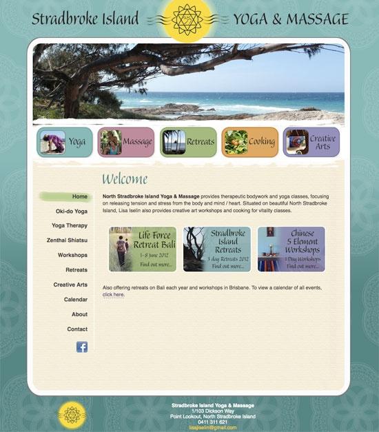 Web design for Stradbroke Island Yoga & Massage | Yoga classes and yoga retreats on North Stradbroke Island.