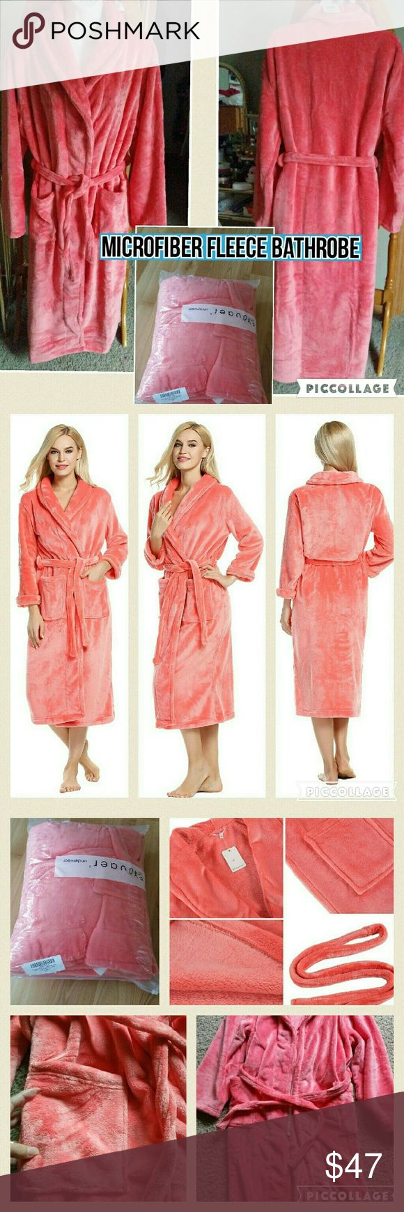 MICROFIBER FLEECE BATHROBE/FULL LENGTH BRAND NEW: ROBES KIMONO BATHROBE SUPER PLUSH MICROFIBER FLEECE LOUNGEWEAR-SUPER COZY.. CORAL M/L  Super plush 100% microfiber fleece bathrobe lounge Robe for Men and Women. Comfort fleece bathrobe features two large front pockets and a shawl collar give this robe it's cozy winter cabin feel. Double belt loops and tie help secure a perfect fit around your waist. Durable, soft plush lounge robe that is easy on the skin and will hold up through your daily…