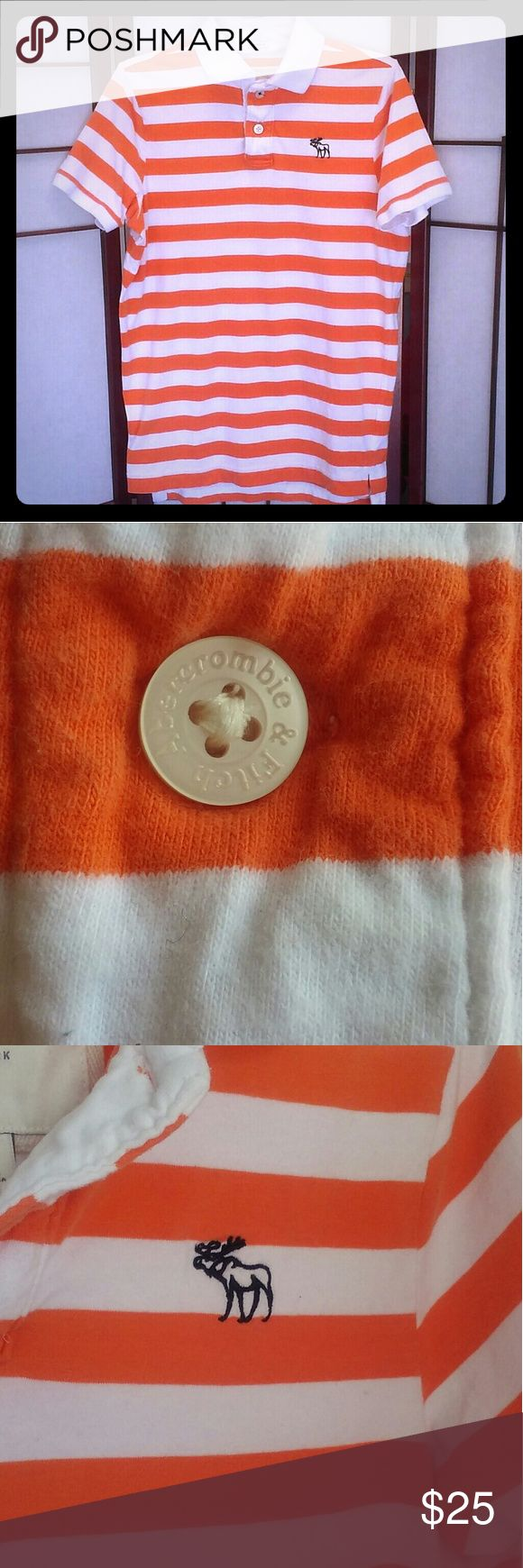 LIKE NEW MUSCLE  Striped Polo Shirt Men's  Abercrombie and Fitch MUSCLE  SHIRT Orange/White Striped Polo Shirt with White collar. Gently uses. Great condition. Abercrombie & Fitch Shirts Polos
