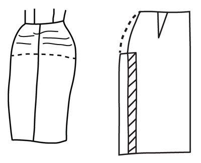 Illustrazione raffigurante modello alterazione gonna per rigonfiamenti coscia o fianchi larghi