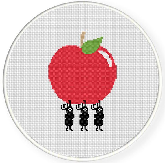 Charts Club Members Only: Ants Carrying Apple Cross Stitch Pattern
