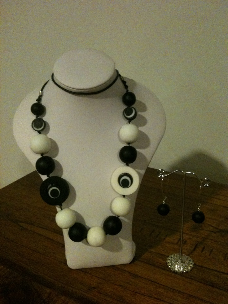 Chunky black and white resin necklace