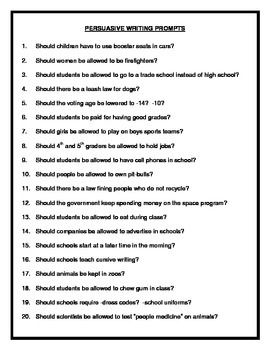 Here is a list of 20 persuasive/opinion writing prompts that I let my students choose from. They are probably most appropriate for intermediate and middle school students.