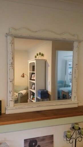 Extra large mantle mirror, refinished in our custom french vanilla cream chalk paint and distressed.