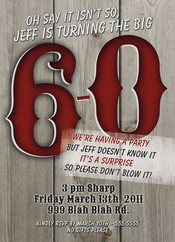 60th Birthday Surprise Party Invitations Masculine Man