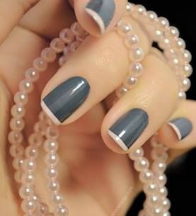 Get an elegant look with a gray and pink french mani!