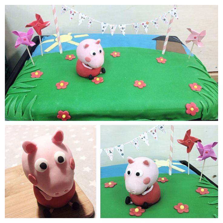 Peppa Pig Cake #peppapig #cake #birthdayparty #bursdag #barn #kids #peppagris #kake #marshmallows #fondant #colourfull