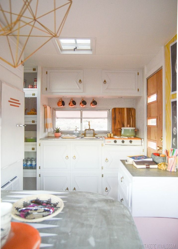 Vintage Trailer Kitchen!! The stove is so sweet!!