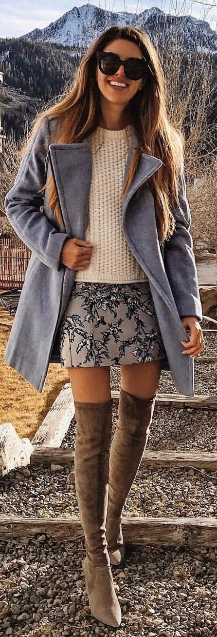 #winter #outfits gray coat, beige top, gray floral skirt, and pair of brown suede knee-high boots outfit #skirtoutfits
