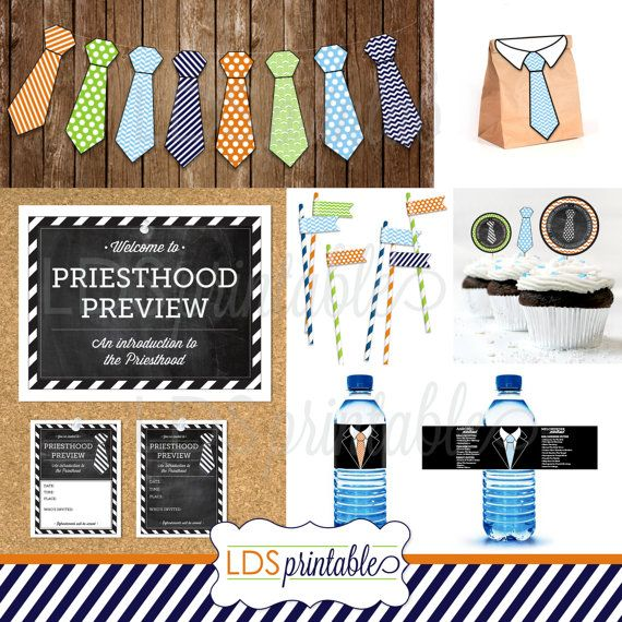 Priesthood Preview Invite and decor set. PDF invite both editable and fill in the blank. Necktie Banner, Program cover, water bottle label, cupcake toppers, treat bag topper, straw flags. PERFECT! I can't wait to use these.