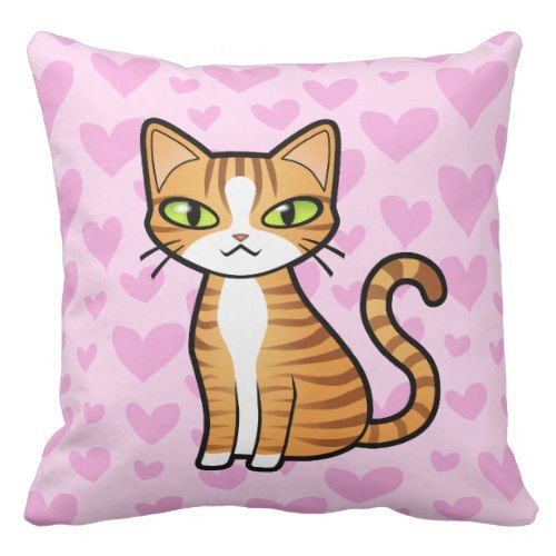 Design Your Personal Cartoon Cat (love hearts) Throw Pillow. >>> Discover more at the photo link