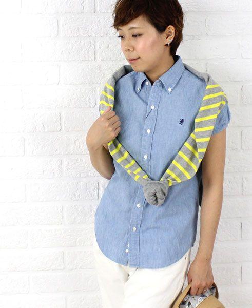 Gymphlex(ジムフレックス) コットン シャンブレー パフスリーブ 半袖 ボタンダウンシャツ・J-0645COD  #Gymphlex